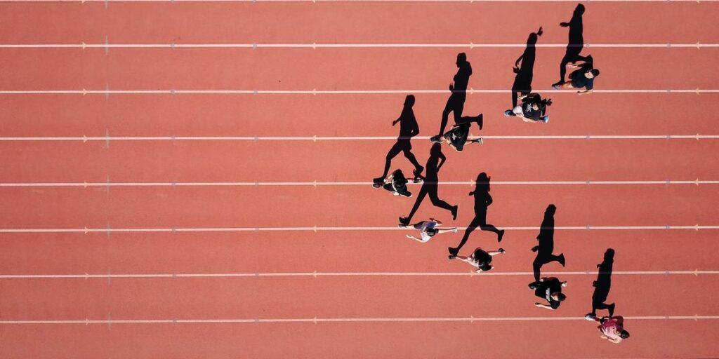 Relay race team running
