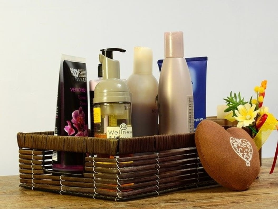 Bathroom products in the basket