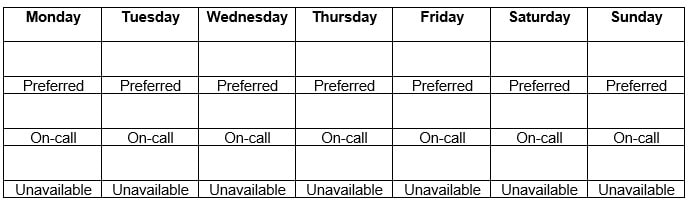 Employee availability form table