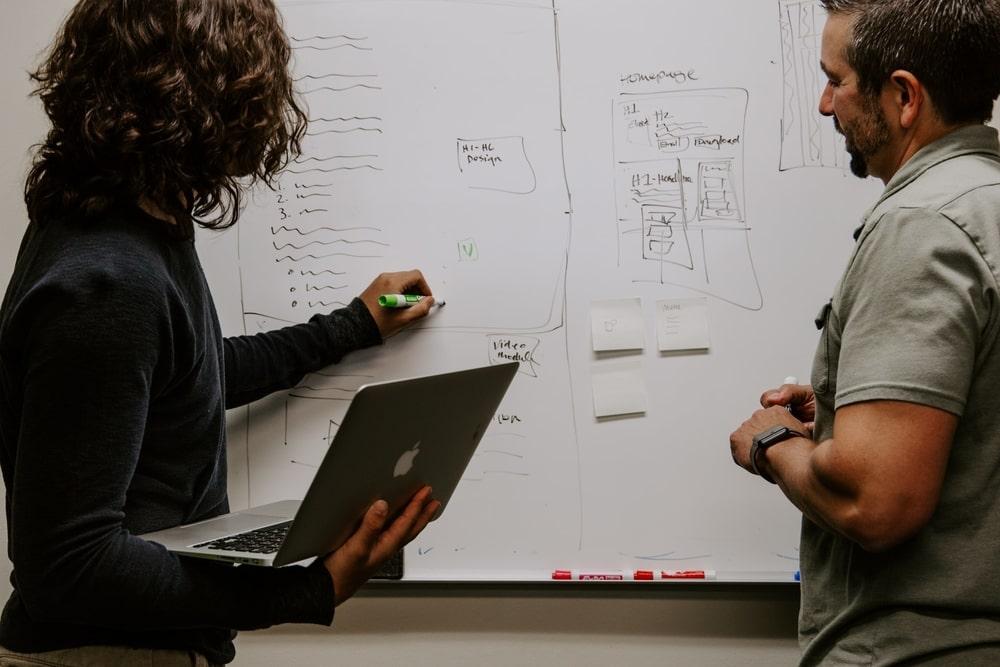 Team brainstorming a strategic plan
