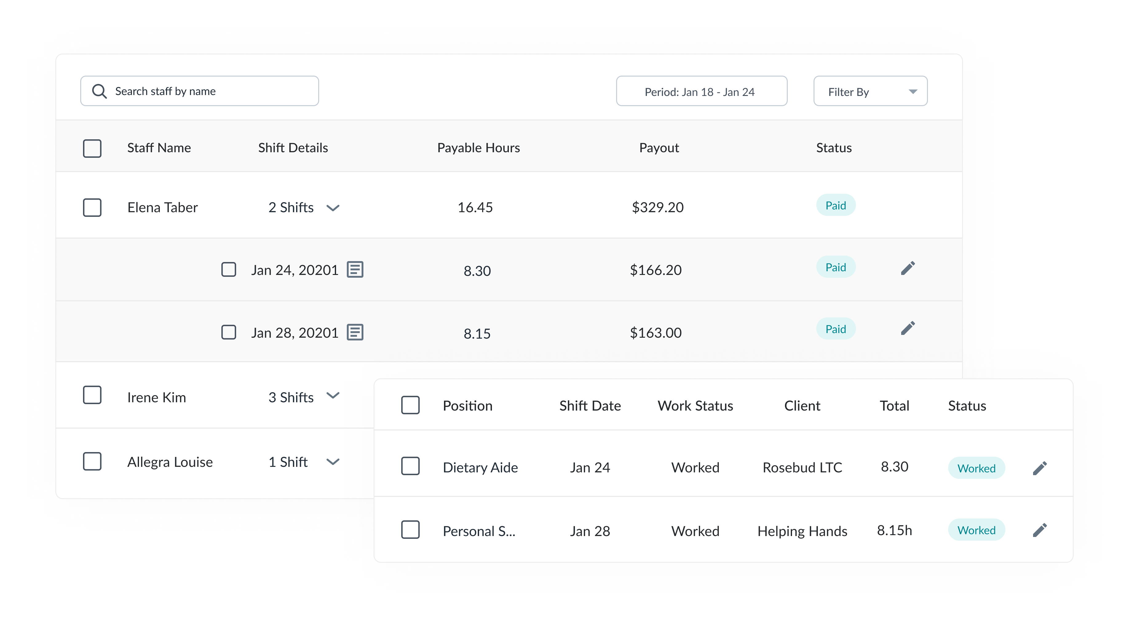 agency timesheets and invoices