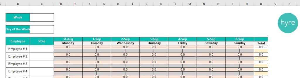 Empty Weekly Schedule Template