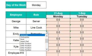 Roles Drop Down Weekly Schedule